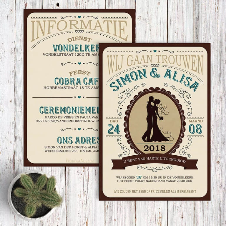 Modern en vintage trouwkaarten met western thema.