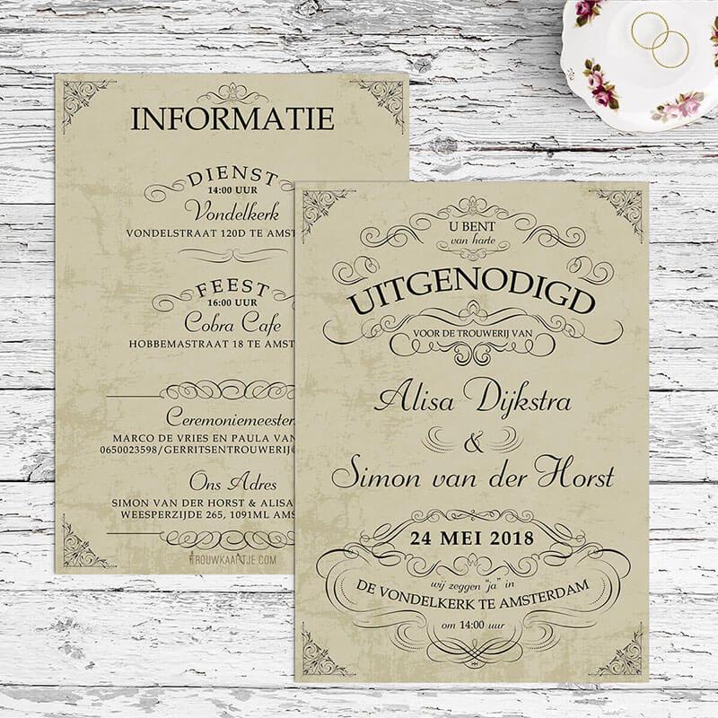 Sierlijke trouwkaarten met mooie zwierige versiersels.