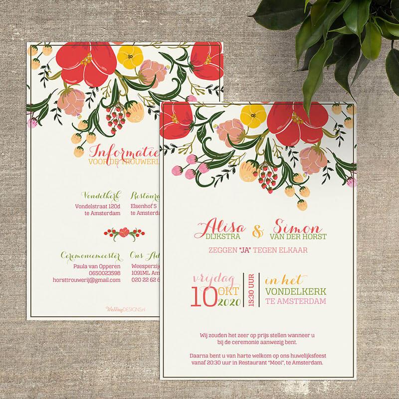 Trouwkaarten met bloemen, in allerlei kleuren en stijlen.