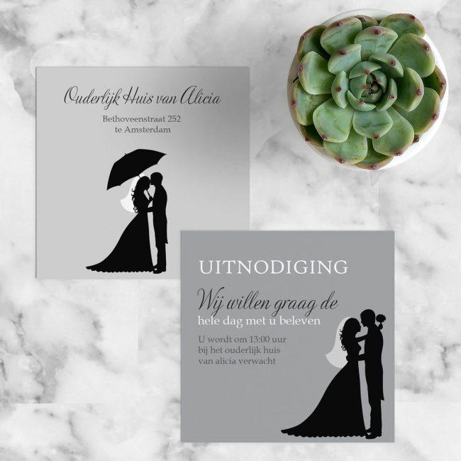 Inlegvel Silhouet is een extra kaartje met een minimalistische illustratie: een silhouet van een bruidspaar op 2 manieren.