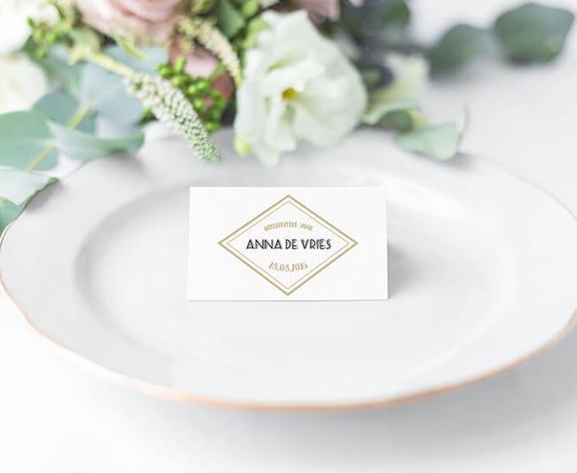 Naamkaartjes bruiloft, art deco ontwerp (Plaatskaartje voor bij het trouwdiner)