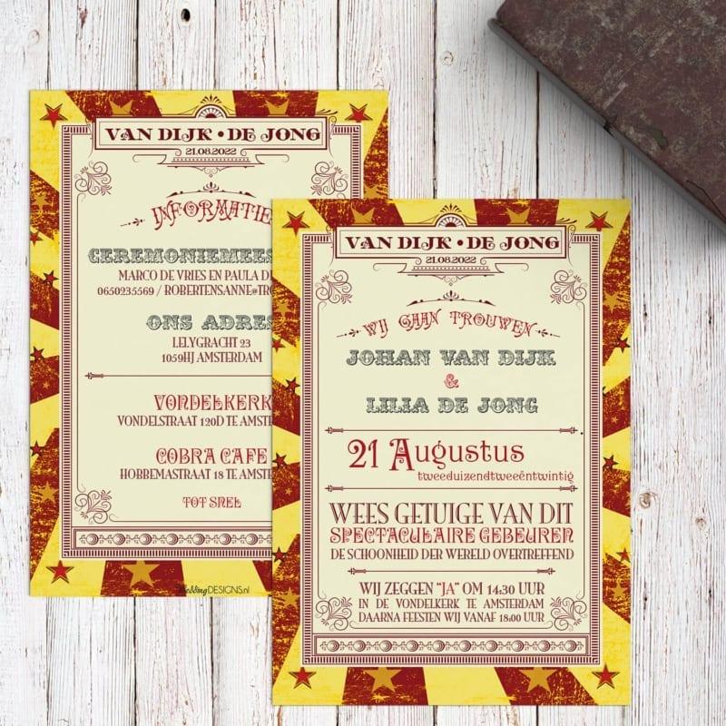 De voor- en achterkant van trouwkaart Circus Ticket