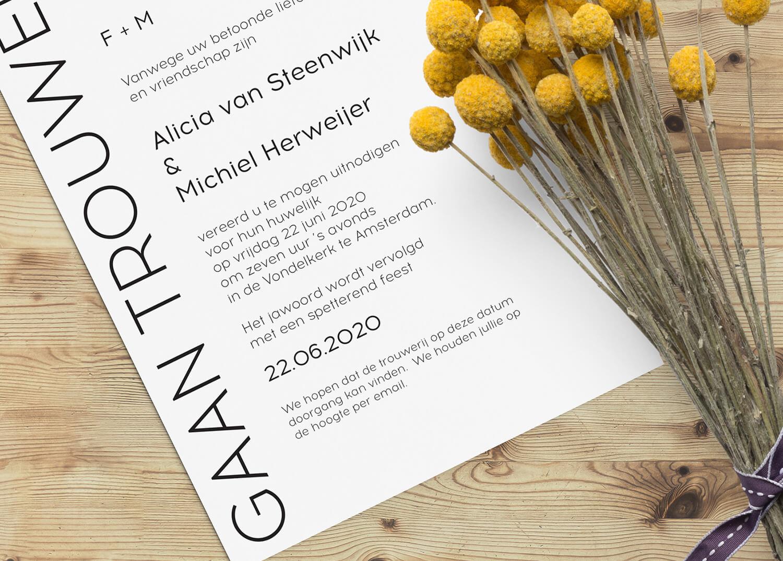 Tekst trouwkaart corona - voorbeeld