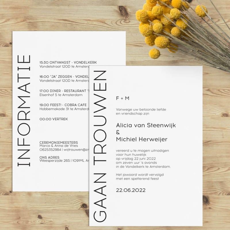 Trouwkaarten Simpel en Modern - Typografische huwelijksuitnodiging