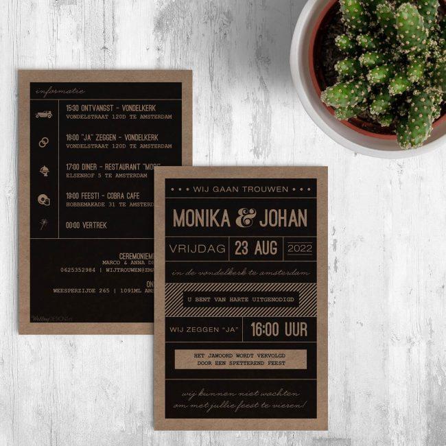 Typografische Trouwkaarten op kraftpapier. Standaard op gerecycled papier gedrukt, maar kan ook op duurzame papiersoorten Vibers of Paperwise gedrukt worden.