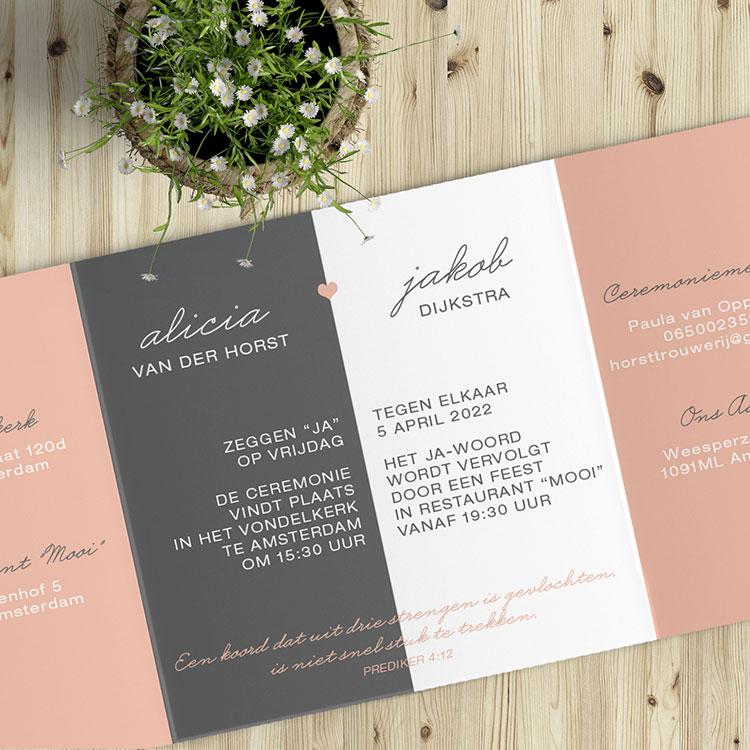 Bijbelteksten voor je trouwkaart - hartje en moderne stijl