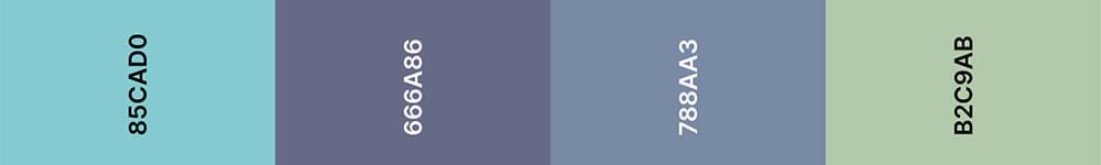 Purist Blue Kleurenpalet 2 - Trouwkaart Trend 2020
