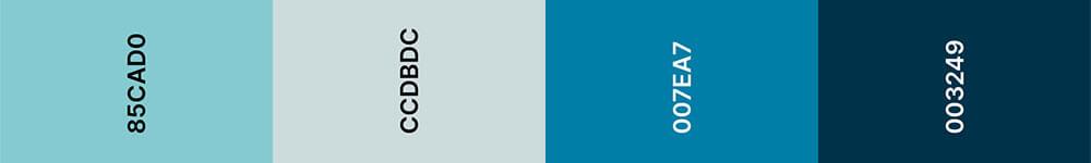 Purist Blue Kleurenpalet - Trouwkaart Trend 2020