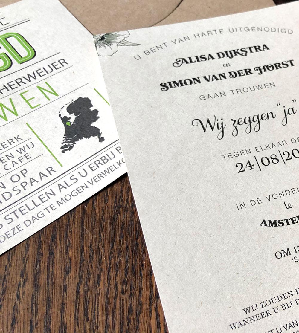 Duurzame trouwkaarten, gedrukt op Paperwise papier, gemaakt van agrarisch restafval.