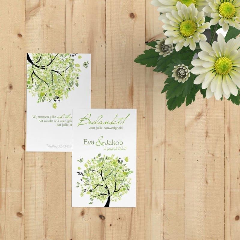 Bedankje Boom van Geluk is een klein kaartje met een vrolijke, groene boom. Te gebruiken voor bij een bedankje op de bruiloft.