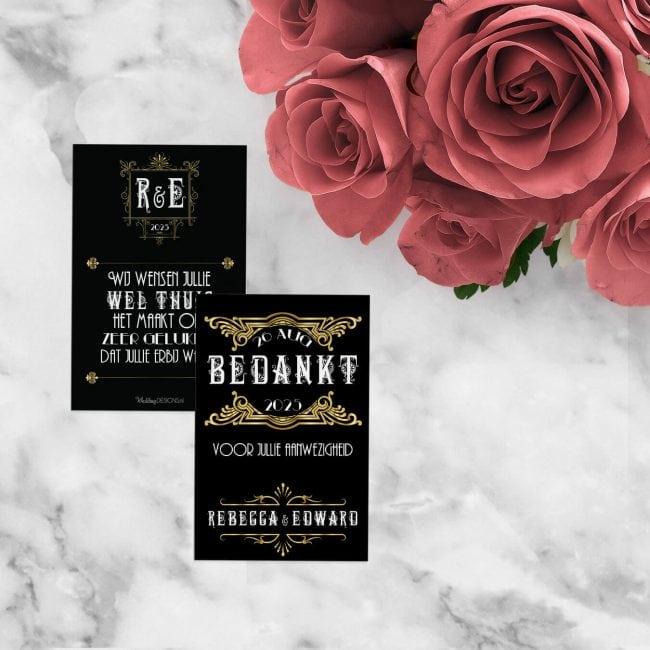 Leuk klein kaartje om aan een bedankje te hangen of er op te plakken Bedankje Great Gatsby sluit aan bij de trouwkaart.