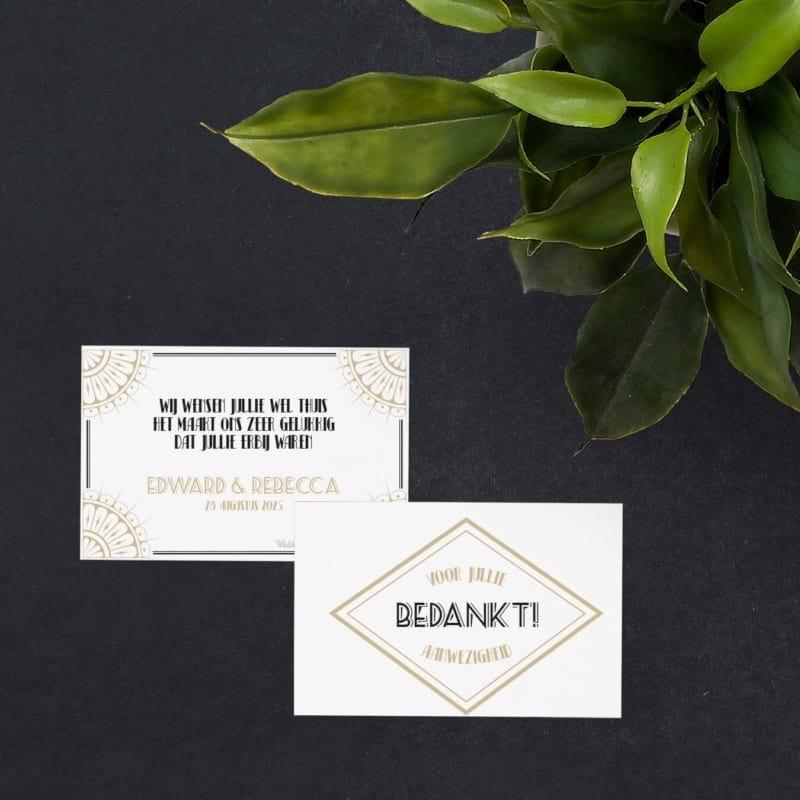 De roaring twenties zijn eigenlijk nooit weggeweest. Bedankje Roaring Twenties biedt een optie om het thema op de bruiloft te gebruiken.