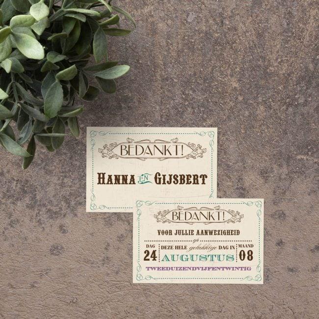 Bedankje Vintage Kaart is een prachtig ontwerp voor bij een bruidssuiker. Retro lettertypes en kleuren. Past bij de trouwkaart.
