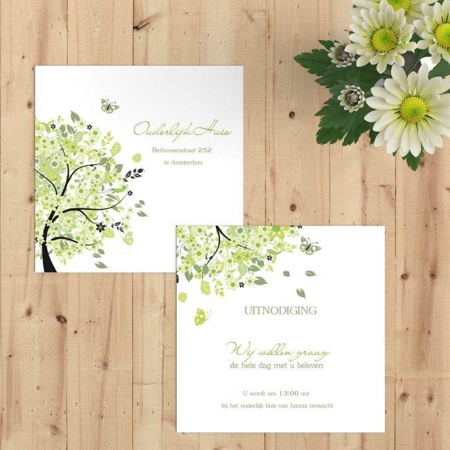 Een inlegvel in de stijl van trouwkaart Boom van Geluk, zodat je bepaalde gasten extra informatie kunt geven. Uiteraard met de vrolijke boom!