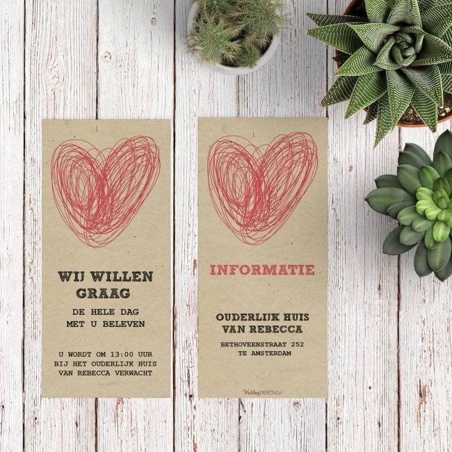 Een inlegvel in de stijl van trouwkaart Modern/Vintage Hart, geschikt om gasten extra informatie te geven. Uiteraard met het mooie, slordige hart.