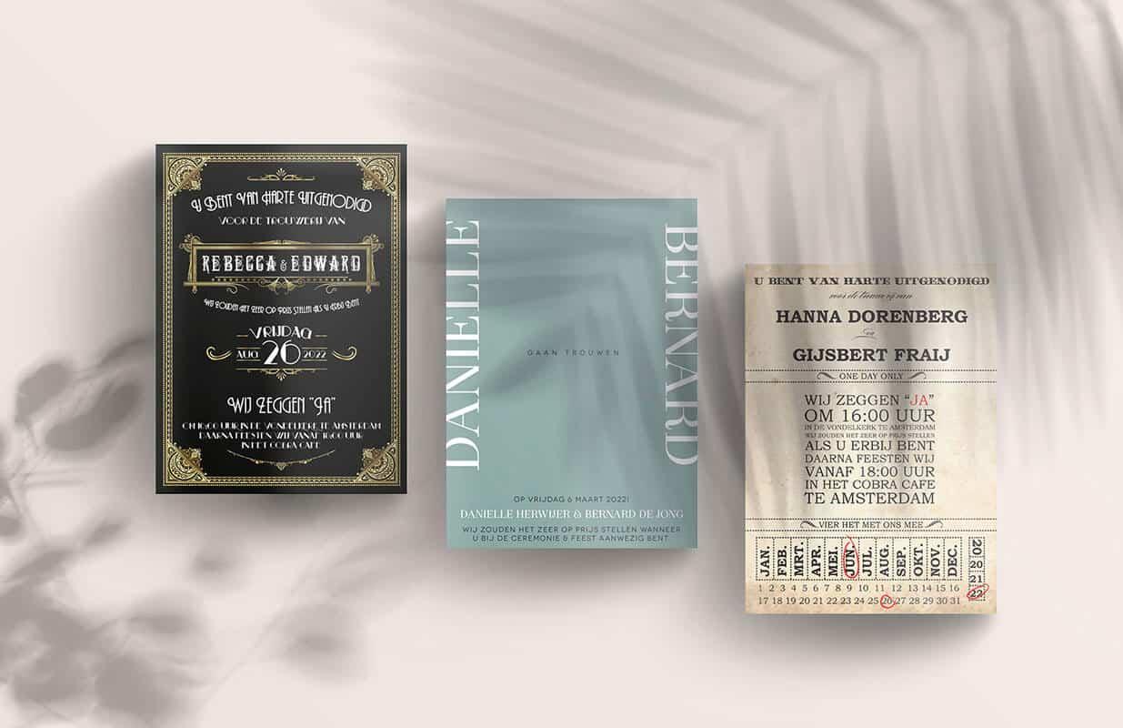 Trouwkaarten in verschillende stijlen die je zelf kan aanpassen