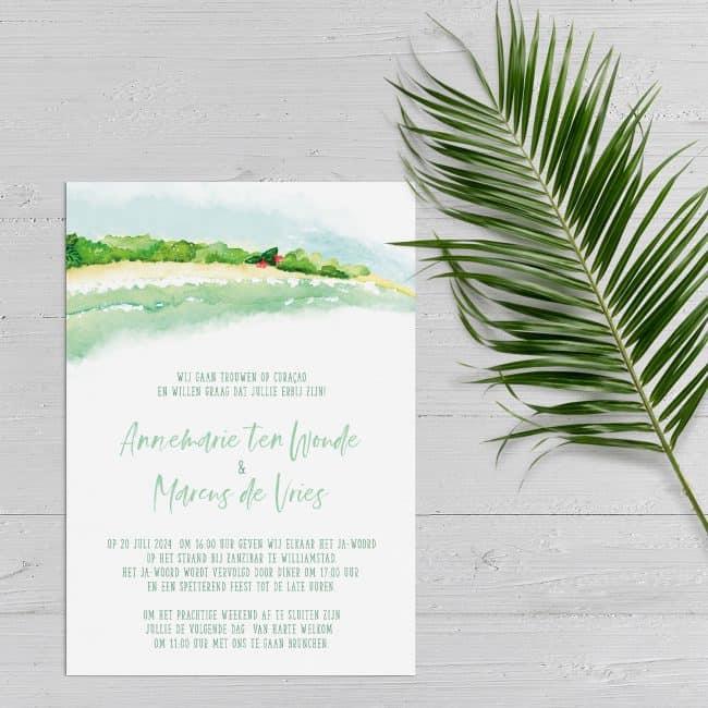 Trouwkaart Tropisch Eiland probeert de genodigde de sfeer te laten proeven van een tropisch eiland. Kan o.a. voor destination wedding.