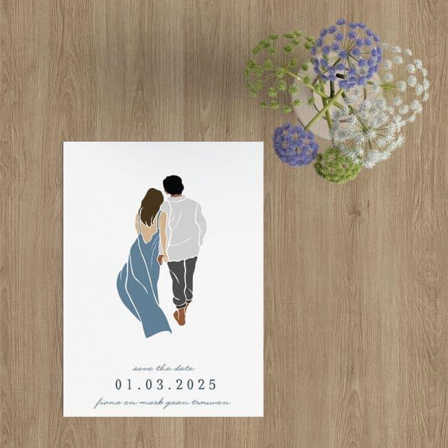 Save the date kaart Abstract Bruidspaar is vormgegeven in een minimalistische, romantische stijl. Het stel loopt langzaam, samen, op weg.