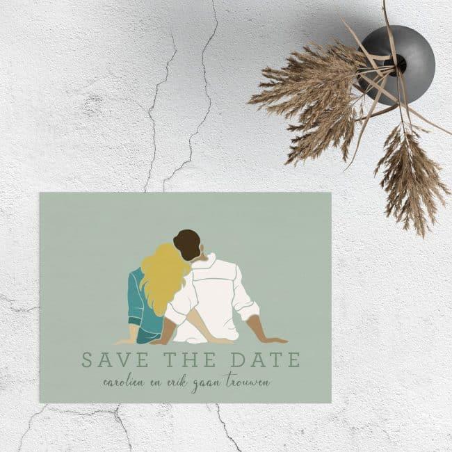 Save the date kaartje Abstract Bruidspaar is een romantisch kaartje, in een minimalistische stijl. Opvallende en zachte kleuren.
