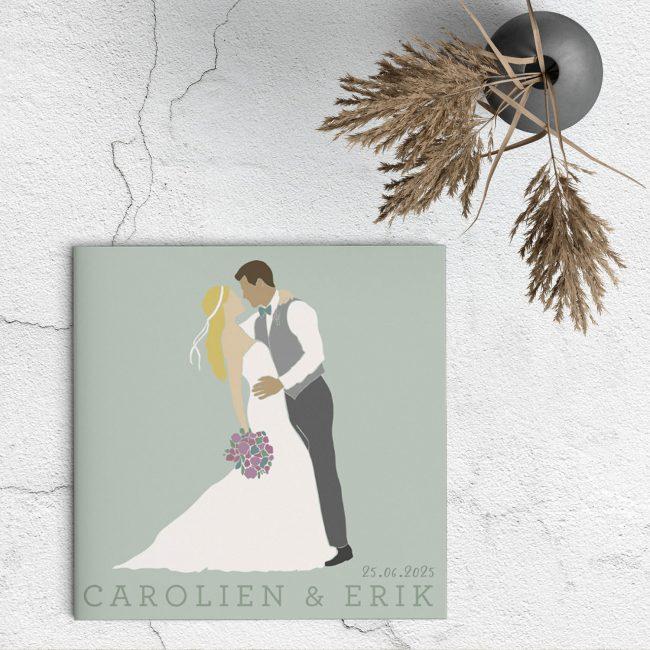 Trouwkaart Abstract Bruidspaar met Bloemen is een romantisch ontwerp met heel veel stijl. De prachtige illustraties stelen de show.