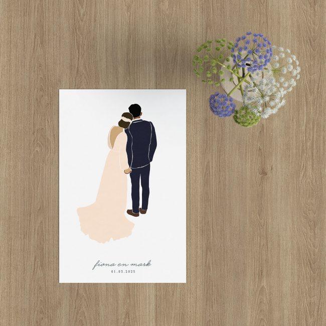 Trouwkaart Abstract Bruidspaar is vormgegeven in minimalistische stijl, met een op kleur aanpasbaar stelletje. Zelf te personaliseren.