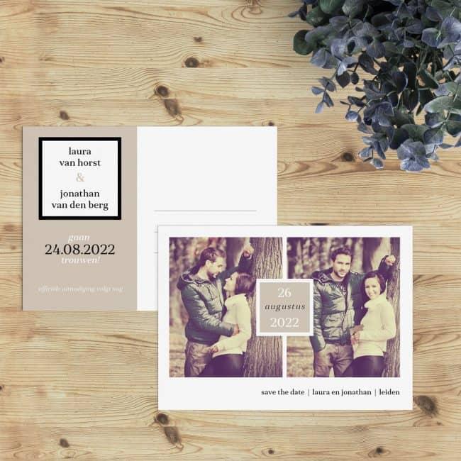 Het concept van de save the date is een Amerikaanse uitvinding en save the date kaart Klassiek volgt een klassieke Amerikaanse stijl.
