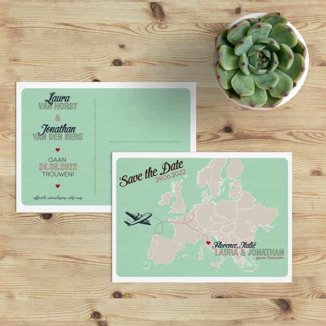 Save the date kaart Landkaart Europa biedt mooie illustratie van een landkaart van Europa om de (buitenlandse) trouwlocatie op leuke wijze aan te wijzen.