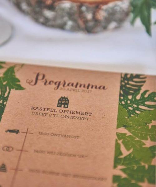 Dagprogrammakaarten voor op je trouwdag - Past precies bij de stijl van de trouwkaart.